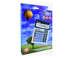 CALCULADORA GLOBAL 12 DIGITOS 1200V METALICA PLATEADA