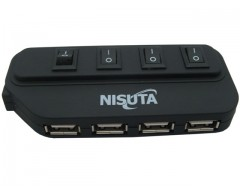 HUB USB 2.0 4 PUERTOS CON SWITCH NISUTA NS-UH2083